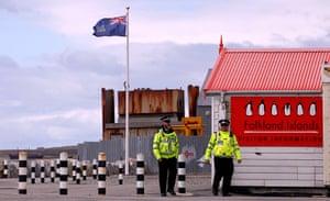 Falkland Islands: Falkland Islands policemen patrol the streets in Stanley