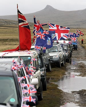 Falkland Islands: Islanders taking part in the Proud to be British parade along Ross Road