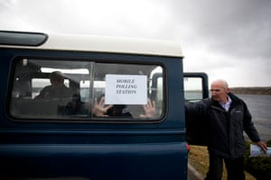Falkland Islands: A mobile polling station is prepared in Stanley