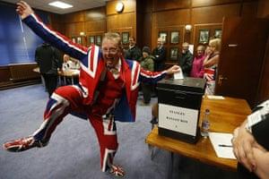 Falkland Islands: A man wearing a Union flag suit dances