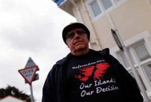 Falkland Islands: Terry Spruce wears a referendum T-shirt