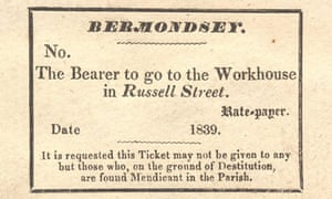 The Bermondsey workhouse admission ticket