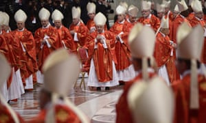 Cardinals attend mass in St Peter's Basilica on 12 March 2013.