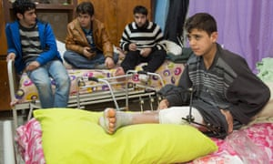 Boys injured in the Syrian conflict.