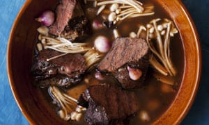 Ox cheeks with mushrooms and galangal