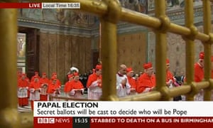 Cardinals walk into the Sistine Chapel to elect a new pope on 12 March 2013.