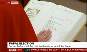 Cardinals swear an oath of secrecy before the papal conclave on 12 March 2013.