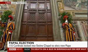 The doors to the Sistine Chapel are closed as cardinals begin their conclave.