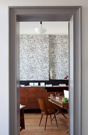 Homes - Fifties Scent: looking into room through grey framed door and wooden floor