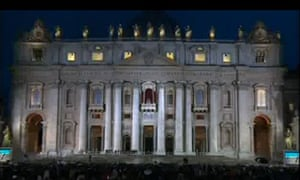 St Peter's Basilica on the evening of 12 March 2013 as people wait for cardinals to choose new pope