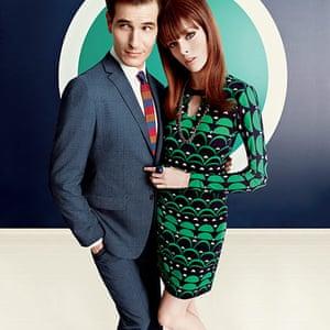 Fashion: Mad Men: Blazer, £185.Shirt, £49.50. Tie. Trousers,£99.50. Geometric pattern dress