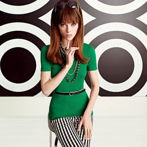 Fashion: Mad Men: Knitted T-shirt, £45. Gingham trousers, £59.50. Belt, £29.50. Ring, £25