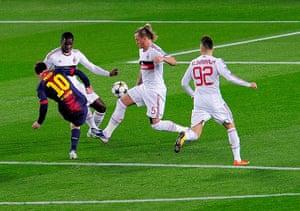 Barcelona v Milan: Barcelona's Lionel Messi scores