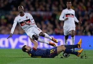 Barcelona v Milan: Javier Mascherano tackles Mbaye Niang