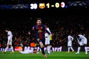 Barcelona v Milan: Lionel Messi celebrates