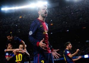 Barcelona v Milan: Gerard Pique celebrates