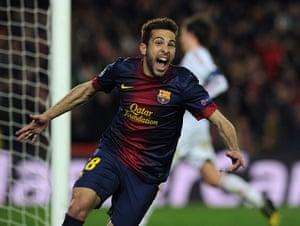Barcelona v Milan: Barcelona's defender Jordi Alba celebrates scoring