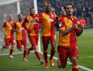 schalke: Altintop of Galatasaray celebrates his goal against Schalke