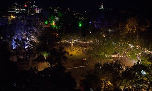 A view of the Garden of Unearthly Delights from the top of the Ferris wheel