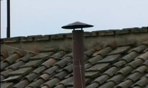 The chimney on the roof of the Sistine Chapel on the morning of 13 March 2013: no smoke yet.