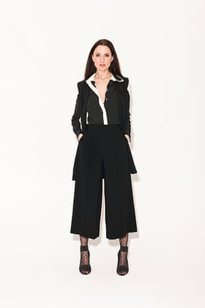 All Ages monochrome: black jacket black culottes white shirt