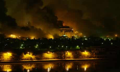 Air strikes on Baghdad, Iraq. One of Saddam Hussein's presidential palaces across the river Tigris