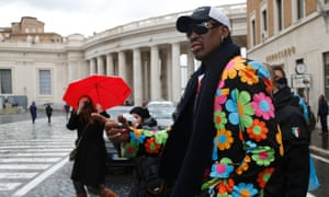 Dennis Rodman arrives in St Peter's Square on 13 March 2013.
