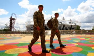 Soldiers patrol the Olympic Park