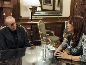 File picture dated last 18 March 2010 and provide by the Argentinian government press office department that shows Cardinal Jorge Bergoglio (L), Archbishop of Buenos Aires during a talk with Argentinian president Cristina Fernandez (R) during a meeting between the government and the Argentinian church held in Buenos Aires, Argentina.