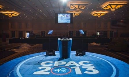 The stage at the 40th Annual Conservative Political Action Conference (CPAC) awaits the opening session on 14 March of the nation's largest annual conservative gathering.