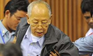 Ieng Sary during his trial in Cambodia for Khmer Rouge atrocities. He has died aged 87