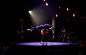 Adelaide festival Thurs: Jonathan Nosan, a contortionist bends his body backwards in Limbo