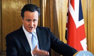David Cameron at his Leveson news conference.