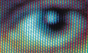 macro close up on an eye on a screen