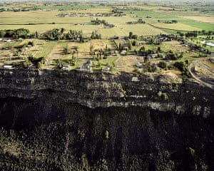 Landscape photography: Houses On The Edge of The Snake River Lava Plain, Looking North, Jerome