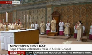 Pope Francis celebrates mass at the Sistine Chapel on 14 March 2013.