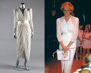 Diana Auction: A Zandra Rhodes white chiffon cocktail dress