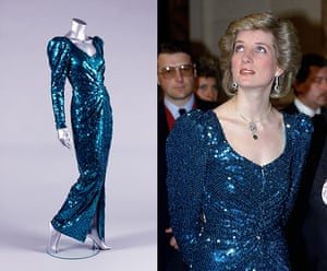 Diana Auction: A Catherine Walker sea-green sequined evening gown