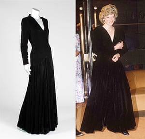 Diana Auction: A Bruce Oldfield black velvet evening gown