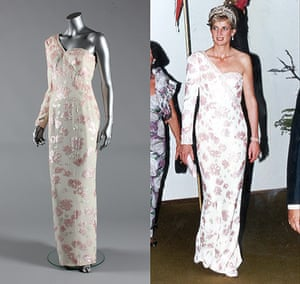 Diana Auction: A Catherine Walker pink sequined ivory crepe gown