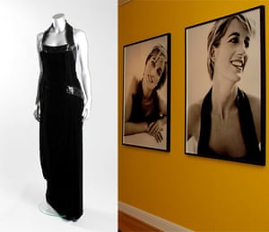 Diana Auction: A Catherine Walker black velvet and beaded evening gown