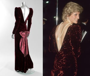 Diana Auction: A Catherine Walker burgundy crushed velvet evening gown