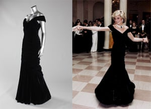 Diana Auction: A Victor Edelstein midnight-blue velvet evening gown