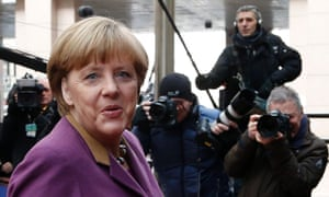German chancellor, Angela Merkel, arrives at the EU summit this morning.
