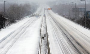 Police close the M1-M7 motorway outside Budapest this morning, as heavy snow hit Hungary.
