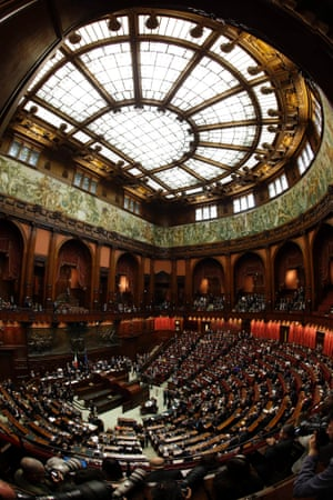Italian MPs attend the first session to elect the Italian Parliament Lower Chamber President,  in Rome.