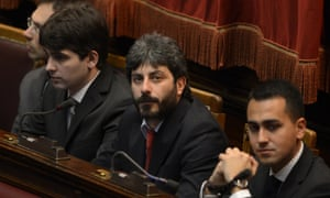 Five Star Movement newly elected member of parliament Roberto Fico (centre) in parliament. Photograph: AFP/Getty Images/Andreas Solaro