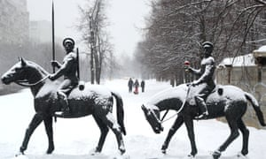 Monuments covered in snow in a freezing Moscow this morning.