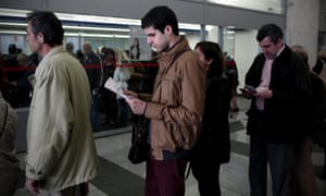 Queues at a public office of Greece's Public Power Corporation (PPC) in Athens, this week. A high percentage of PPC bills remain unpaid as a property tax has been added, one of Greek government's austerity measures for increasing the public income.