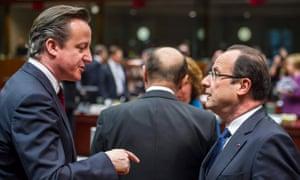 David Cameron and Francois Hollande at an EU summit on 15 March 2013.